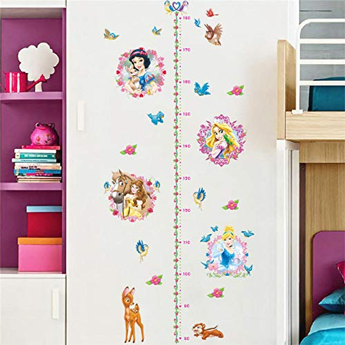 3D Wall Stickers Cartoon Princess Growth Chart Wall Stickers Home Decor Kids Height Measure Decals Zyyanaes ()