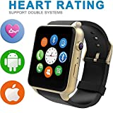 WFB Bluetooth SmartWatch Fitness Tracker Heart Rate Monitor Pedometer for Android / iphone7 IOS (Golden)