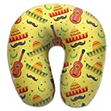 SARA NELL Memory Foam Neck Pillow Mexican Holiday Guitar U-Shape Travel Pillow Ergonomic Contoured Design Washable Cover For Airplane Train Car Bus Office