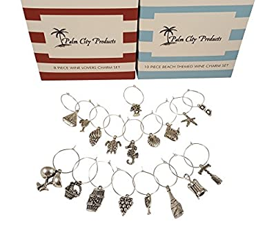Bundle of Two Wine Charm Sets - 18 Pieces Total, Beach and Wine Themes