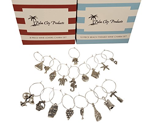 Bundle of Two Wine Charm Sets - 18 Pieces Total, Beach and Wine Themes (Ornaments Glass Wine)