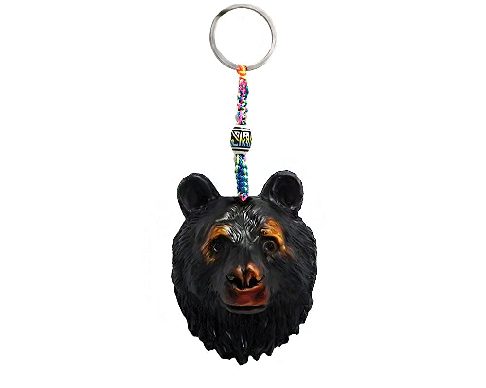 Amazon.com: Oso Negro cabeza Animal hecho a mano llavero ...