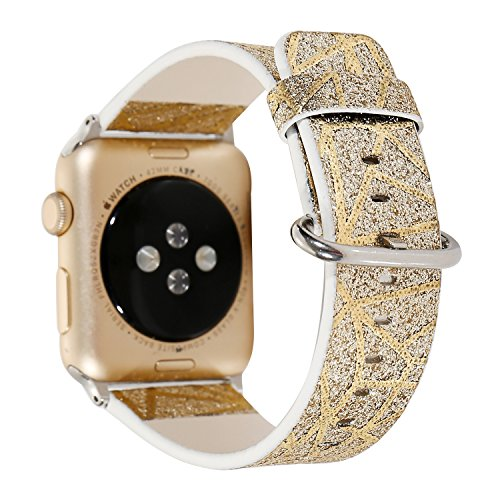 (Rykimte Compatible For iWatch Apple Watch Chromatic Glitter Shimmering Powder Print Leather Strap Wrist Bracelet Replacement Wristband With Metal Adapter For Woman Girls (Flash Gold 38mm))