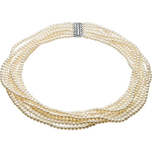 925 Sterling Silver 7-Strand Freshwater Cultured White Pearl 7.5 Inches Hypoallergenic Necklace for Women