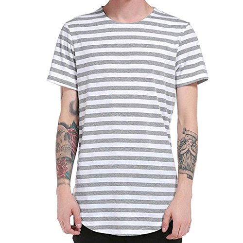 Ls Twill Work Shirt (Tenworld Men's Tops Shirt Blouse Striped Short Sleeve Casual T-Shirt (US S/38, Gray))