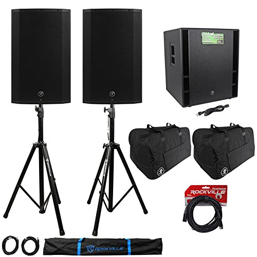 "(2) Mackie Thump15A 15"" Powered DJ PA Speakers+ Thump18s Subwoofer+Stands+Cables"