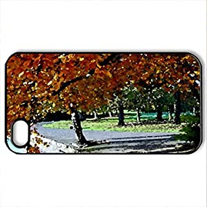 AUTUMN IN THE PARK - Case Cover for iPhone 4 and 4s (Amusement Parks Series, Watercolor style, Black)