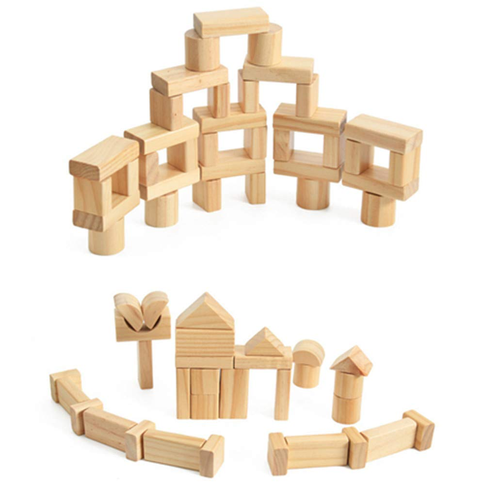 Educational Toys, YiMiky 100pcs Early Educational Toys Wood Child Pile Up Toys Wood Paint-free Blocks Early Learning Educational Toys Wooden Building Blocks Kit Natural Wooden Stacking Cubes
