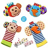 Daisy  4-Piece Animal Baby Infant Wrists Rattle and Socks...