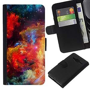 KingStore / Leather Etui en cuir / Samsung Galaxy Core Prime / Colores Universo brillante galaxia polvo Cosmos