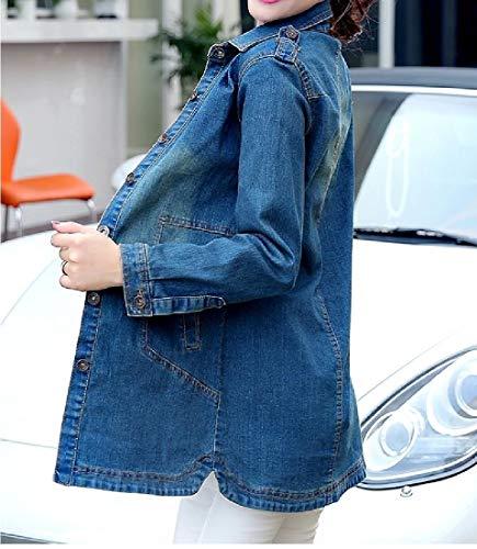 Blue Sleeve Fit Parka Tops Women Dark Howme Trim Trenchcoat Jacket Long Outwear WfPax4q6Y