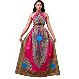 Women Turtleneck Africa Print Dashiki Dress Fashion Sleeveless Long Dress (XL, Hot Pink)