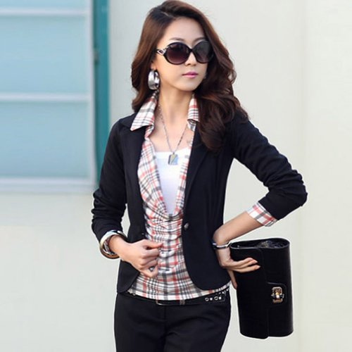 Zacoo Women's Slim Lapel Cotton Office Blazer