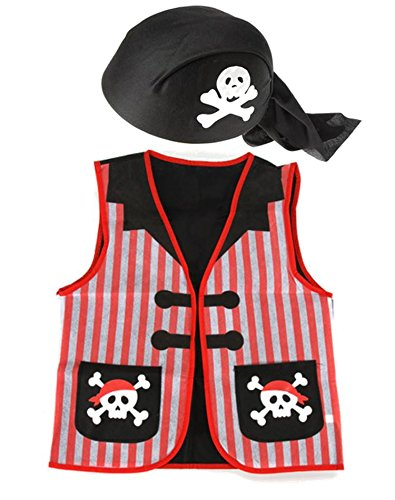 Pirate Role Play Dress up Set - Vest and Cap -