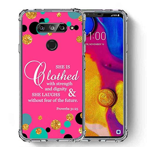 for LG V40 Case, LG V40 ThinQ Case, SuperbBeast Ultra Slim Thin Protective Case w/Reinforced Corners Vector Floral Flowers Polka Dots [Glitter Pattern] ()
