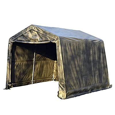 Sliverylake Auto Storage Shelter Car Garage Steel Carport Canopy Tent (10×10×8ft, Gray)