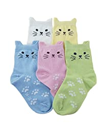 Tandi Kids Girls Cotton Novelty Cats Crew No Seam Socks 5 Pairs Pack