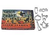 R&M International 1966 Vintage Inspired Trick or Treat Halloween Cookie Cutters in Gift Box, Owl, Bat, Pumpkin, Cat, Broom, Witch, 6-Piece Set