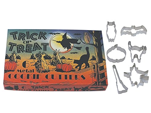 R&M International 1966 Vintage Inspired Trick or Treat Halloween Cookie Cutters in Gift Box, Owl, Bat, Pumpkin, Cat, Broom, Witch, 6-Piece Set
