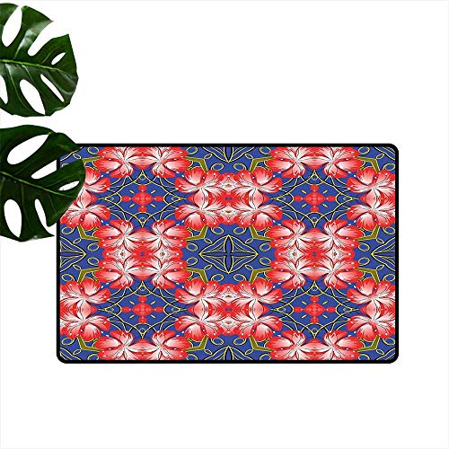 Anzhutwelve Floral,Personalized Door mats Blooms Pattern on Diamond Shaped Bands Vibrant Flowers Glamour Beauty Print Low-Profile Mats for Entry W 20