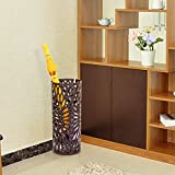 SONGMICS Umbrella Stand Long/Short Umbrella Rack Free Standing Holder for Canes/Walking Sticks, with Drip Tray/2 Hooks, Brown ULUC21Z