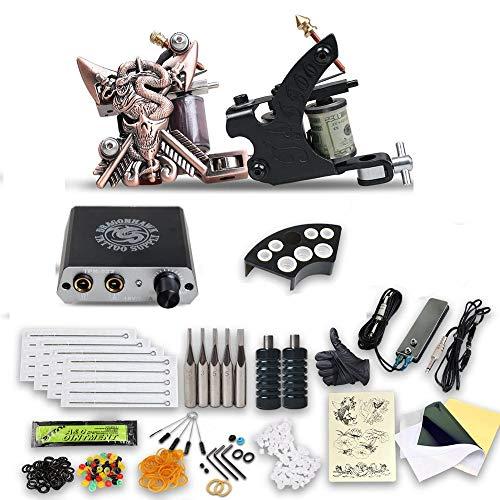 ZWEN Beginner Complete Tattoo Kit Set 2 Machine Gun Power Supply Tip Art