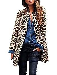 Orangeskycn Womens Open Front Leopard Print Cardigan Long Sleeve Sweater Coat