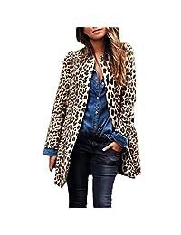 Pervobs Women Leopard Coat Winter Warm Long Sleeve Long Coat Jacket Outwear Cardigan