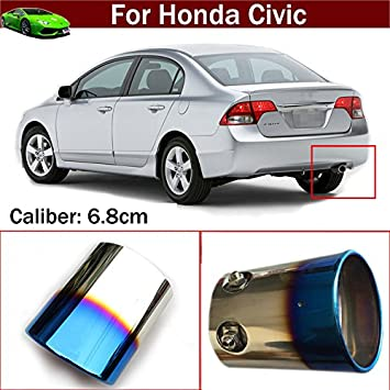 Stainless Steel Chrome Exhaust Muffler Tip Pipes For Honda CIVIC 2012 2013 2014