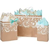 Lace Borders Paper Shopping Bags - Assortment of 3 sizes - 375 Pack