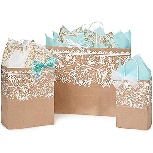 Lace Borders Paper Shopping Bags - Assortment of 3 sizes - 375 Pack by NW