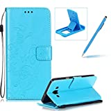 Strap Case for Samsung Galaxy A500 2015,Wallet Leather Cover for Samsung Galaxy A500 2015,Herzzer Classic Elegant [Blue Butterfly Pattern] PU Leather Fold Stand Card Holders Smart Phone Case for Samsung Galaxy A500 2015 + 1 x Free Blue Cellphone Kickstand + 1 x Free Blue Stylus Pen