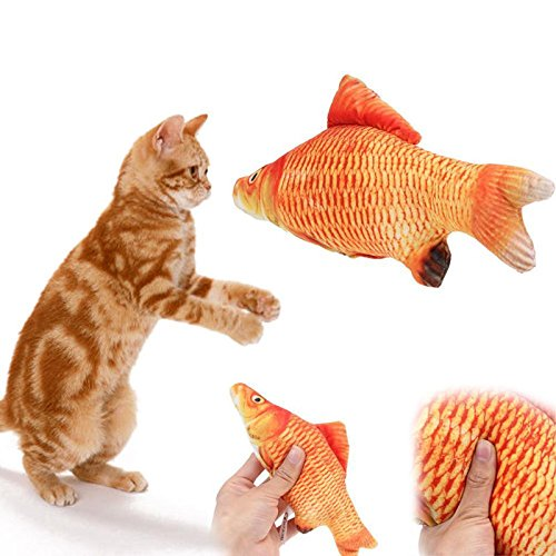 [DASARA Pet Cat Toy Stuffed Fish Toy Interactive Kitten Play Chewing Rattle Scratch Mint] (Gladiator Dog Costumes)