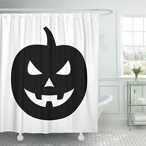 Emvency Shower Curtain Set Waterproof Adjustable Polyester Fabric Jack O Lantern Halloween Carved Pumpkin Flat for Apps and Websites 60 x 72 Inches Set with Hooks for Bathroom