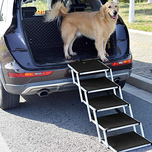 Snagle Paw Portable Dog Car Step Stairs, Accordion Aluminum Frame Folding Pet Ramp for Indoor Outdoor Use, Lightweight…