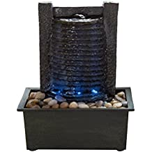 Indoor Water Fountain With LED Lights- Lighted Waterfall Tabletop Fountain With Stone Wall and Soothing Sound for Office and Home Décor By Pure Garden