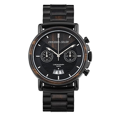 - Original Grain Wood Wrist Watch | Alterra Collection 44MM Chronograph Watch | Wood and Matte Black Stainless Steel Watch Band | Japanese Quartz Movement | Ebony Wood