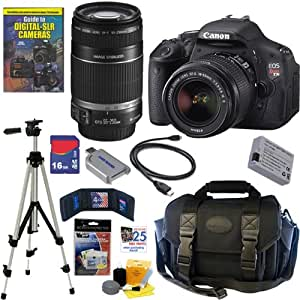 Canon EOS Rebel T3I 18MP DSLR Camera; 18-55 IS II & 55-250 IS Lenses 16GB DLX Kit