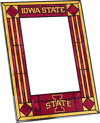 Iowa State Art Glass Frame (Painted Hand Ncaa Glass Art)
