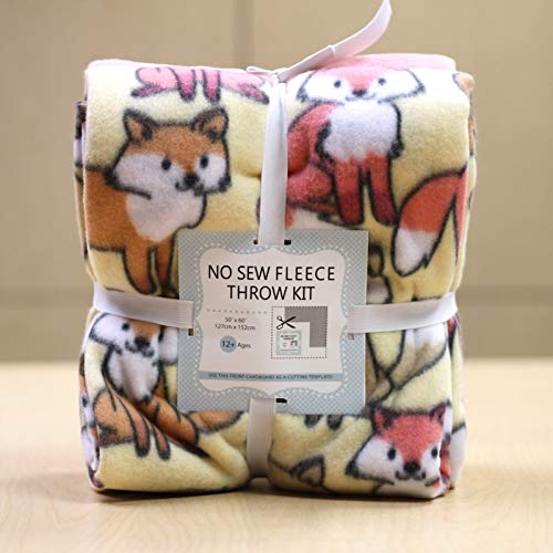 Blizzard Fleece Fabric - Fox Pack No-Sew Throw Fleece Fabric Kit (50x60)