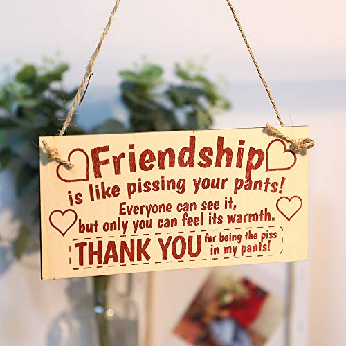 Chenway Merry Christmas Sign Board Best Friend Friendship Wood Pendant Chic Spending Heart Thank You Decoration Home Door Garden Decor (B)]()