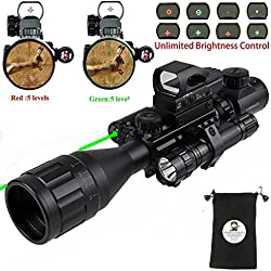 AR15 Tactical Rifle Scope Combo C4-16x50EG Hunting Dual Illuminated with Red Laser sight 4 Holographic Reticle Red/Green Dot for 22&11mm Weaver/Picatinny Rail Mount (Updated 4-16x50EG Green Laser)