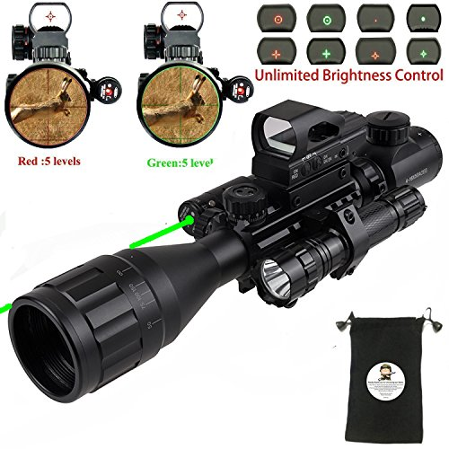 Scope Combo C4-16x50EG Hunting Dual Illuminated with Red Laser sight 4 Holographic Reticle Red/Green Dot for 22&11mm Weaver/Picatinny Rail Mount (Updated 4-16x50EG Green Laser) (Double Picatinny Rails)