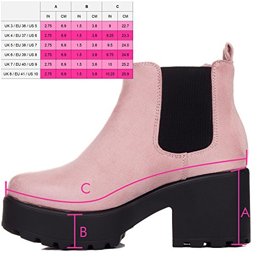 Sole Block Platform Spylovebuy Style Suede Heel Pink Helixa Ankle Chelsea Boots Cleated 5aqwwIX
