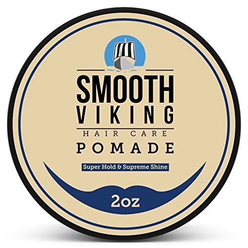 Strong Pomade for Men - Maximum Hold and High Shine - For Straight, Thick and Curly Hair - 2 OZ - Smooth Viking
