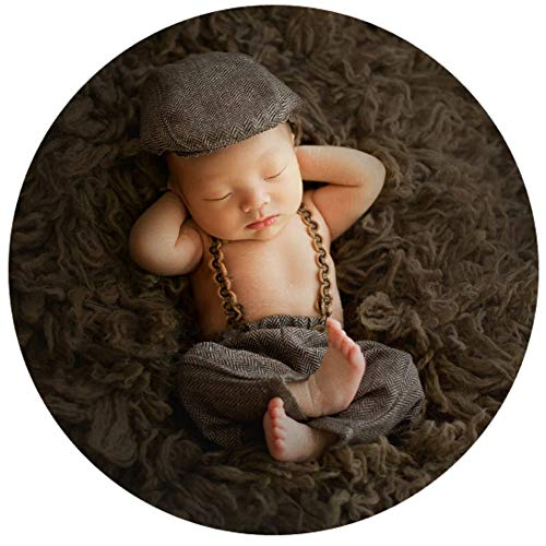 Infant Baby Photo Props Crochet Romper Newborn Photography Caps Set Cool Monthly Boys Knitted Berets Hat Outfits Clothes 3pc Brown by Newborn Costumes Set (Image #2)
