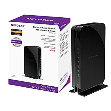 NETGEAR CM500V (16x4) DOCSIS 3.0 Cable Modem with Telephone Jack, Max download speeds of 680Mbps. Certified for Xfinity from Comcast