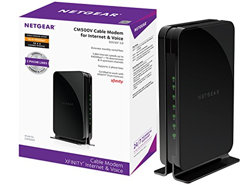 NETGEAR CM500V (16x4) DOCSIS 3.0 Cable Modem/ Telephone, Max download speeds of 680Mbps. Certified for Xfinity from Comcast by NETGEAR