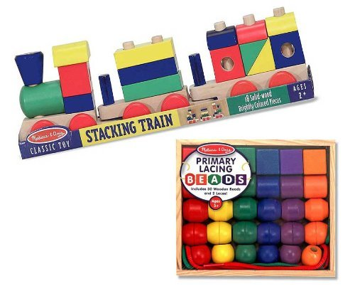 Preschool Boy Lacing Stacking Gift Set Primary Lacing Beads and Stacking Block Train By Melissa and Doug ()