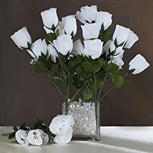 Tableclothsfactory 84 Artificial Buds Roses Wedding Flowers Bouquets Sale - White 61